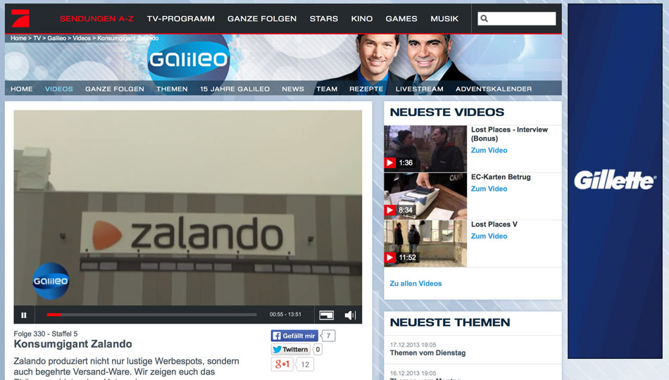 Galileo TV Dokumentation über Zalando